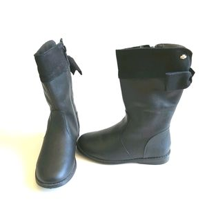 Girl's Leather Black Boots - size 10